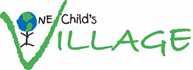 """One Child's Village logo. The """"O"""" is a drawn picture of the globe in blue and green."""