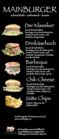 Mainburger Foodtruck buchen Speisekarte