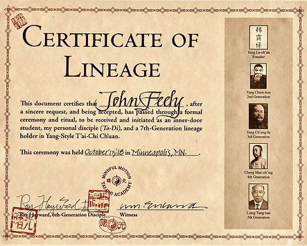 Certificate of Lineage, 7th generation.