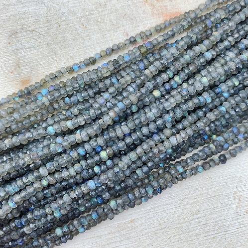 Labradorite Faceted Rondelle 2x3mm Strand