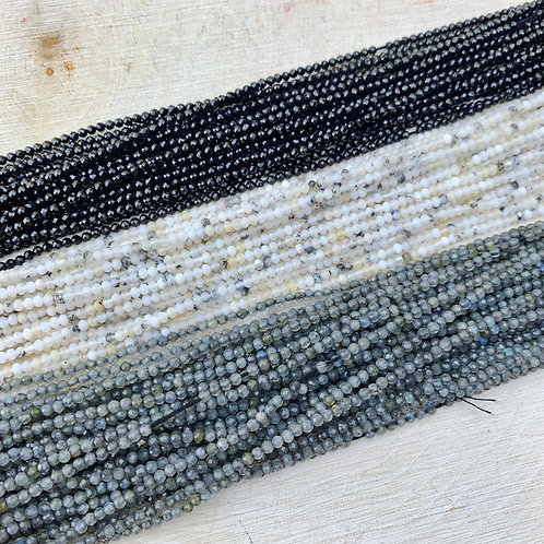 Lot 30 - 3x Strands 2mm Faceted Gemstones