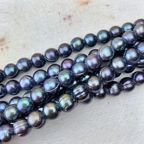Large Hole Freshwater Pearl - Oil Slick Purple 8mm