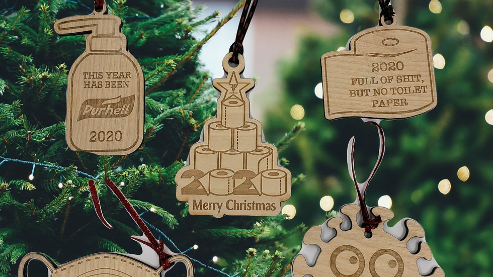 2020 Covid Christmas Ornament SET (5 total!)