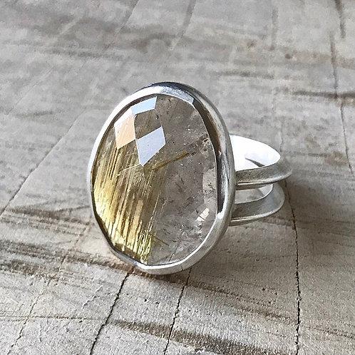 GOLDIE  size 8.5 rutilated quartz ring