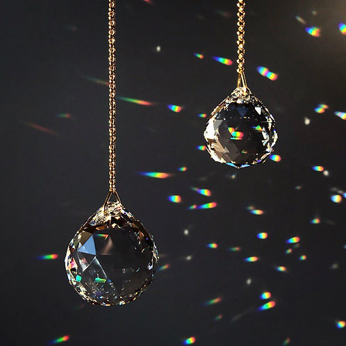 RAINBOW BOMB DUO brass and crystal sun catcher set