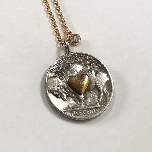 Buffalo heart nickel necklace