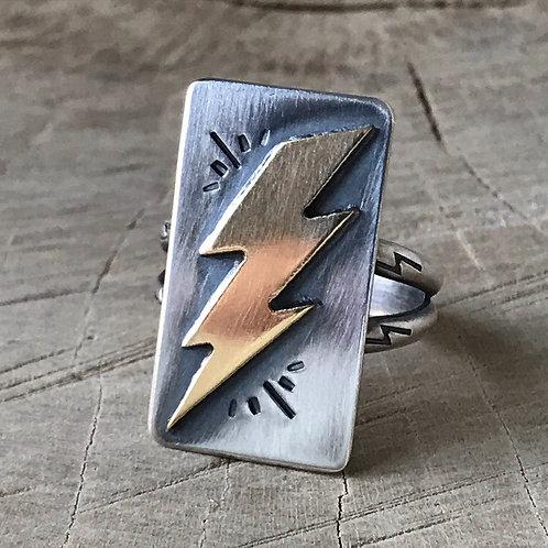 ZIP ZAP  Size 8.5 sterling and brass lightning bolt ring