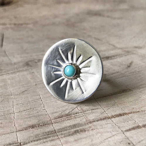 Sun Beam ring with natural turquoise in sterling silver