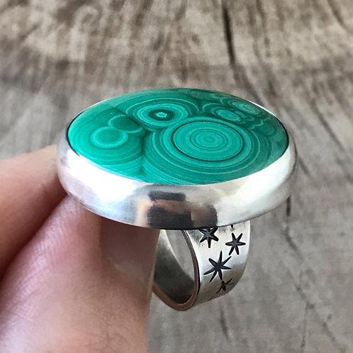 SPACE BUBBLES orbicular malachite ring