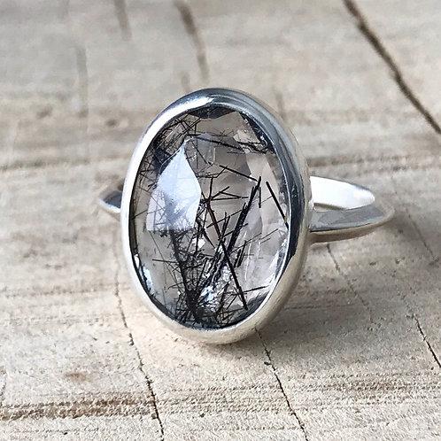 DARK CRYSTAL Tourmalated Quartz  ring