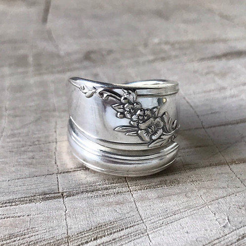 Floral wrap spoon ring size 7 and 8