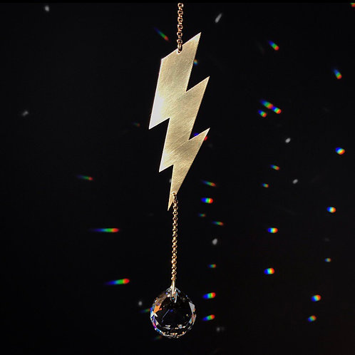 LIGHTNING IN A BOTTLE brass and crystal sun catcher