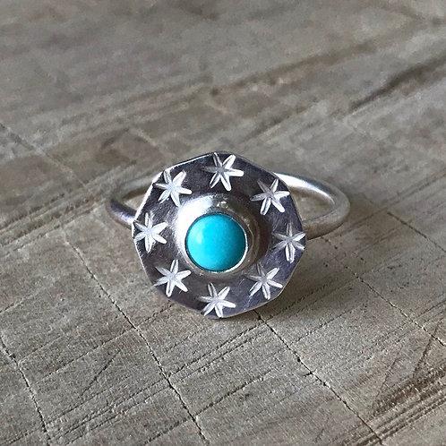 STARSHINE stamped turquoise ring