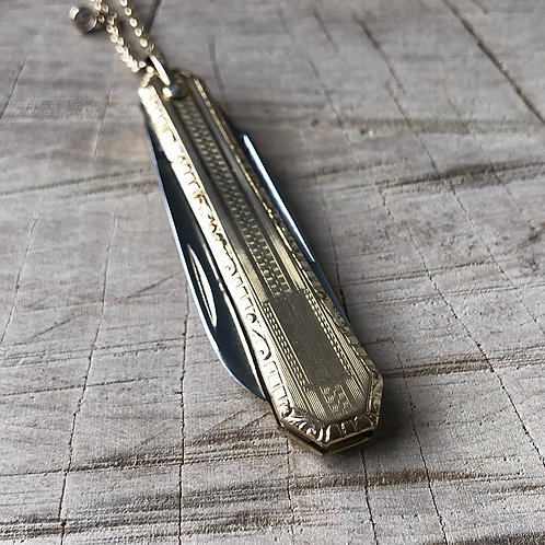 Antique Art Deco gold filled knife necklace