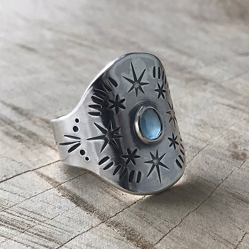 TWINKLE TWINKLE  Aquamarine saddle ring