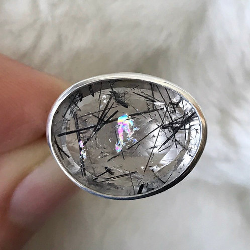 RAINBOW GHOST Tourmalated quartz ring