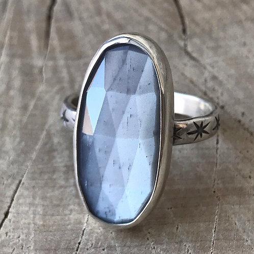 SILVER LINING natural grey moonstone ring