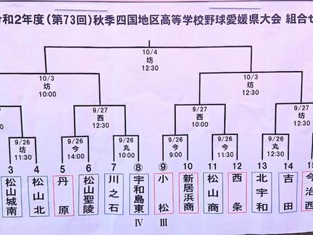 令和2年(第73回)秋季四国地区高等学校野球愛媛県大会の組合せが決まりました。1回戦は西条高校