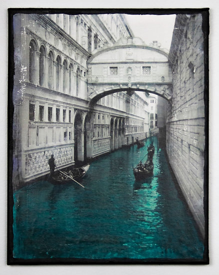 """Bridge of Sighs"", Mixed media painting"