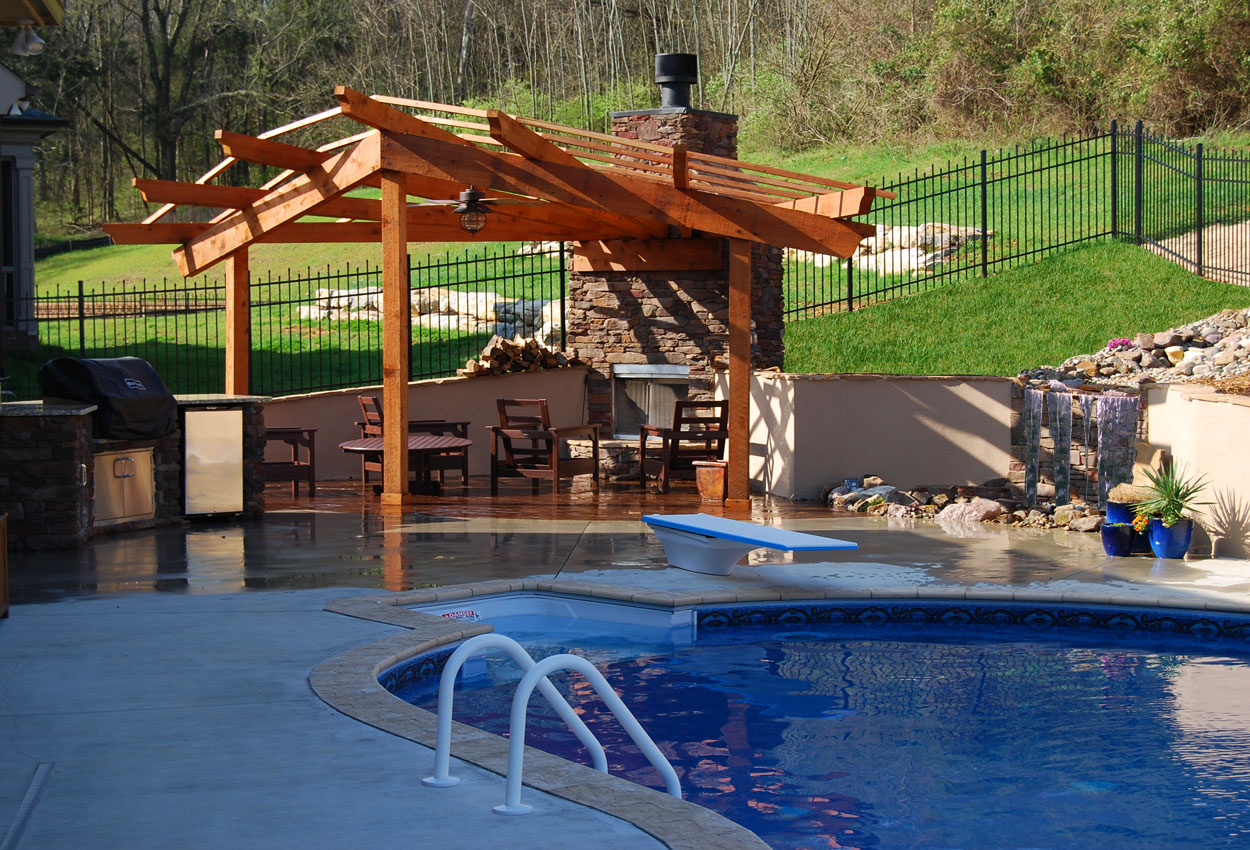 Pergola Pool Waterfall Kitchen copy