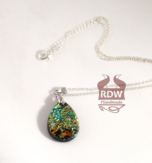Green-Bronze Teardrop Dichroic Necklace