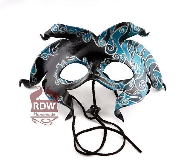Blue Harlequin Leather Mask