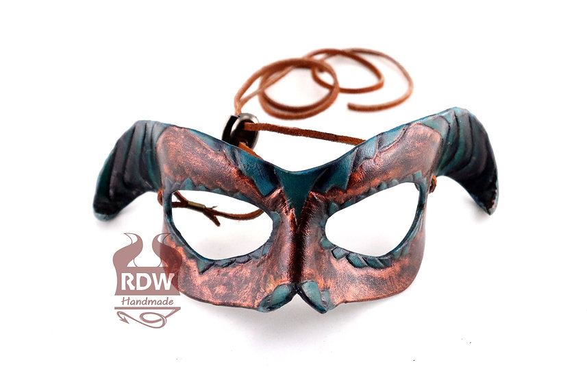 Bronze Fanged Demon Leather Mask