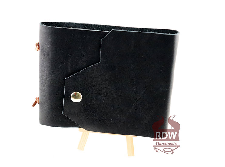 Leather Journal - Black - Feather Interior
