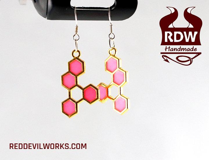 Glow-in-the-Dark Honeycomb Earrings