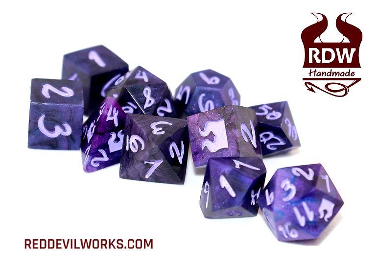 Violet Shadows Dice set - Finished - Painted