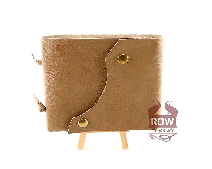 Leather Journal - Beige - Gold Interior