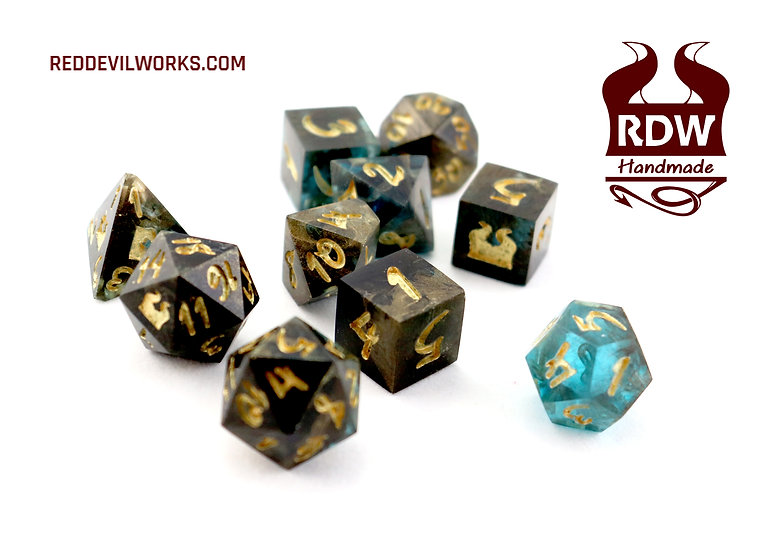 Ink Spill Dice Set - Finished - Painted
