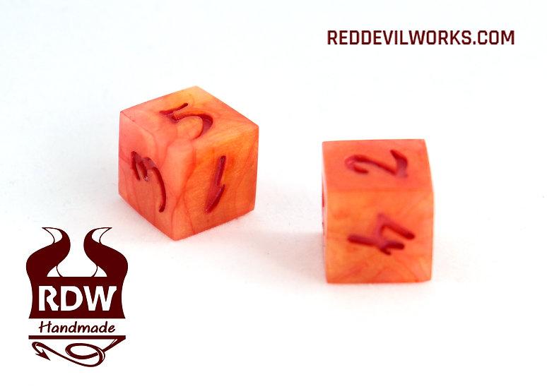 Blood Orange Dice - D6 pair