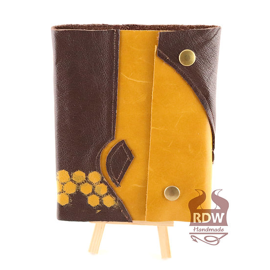 Leather Journal - Brown and Yellow - Parchment Interior
