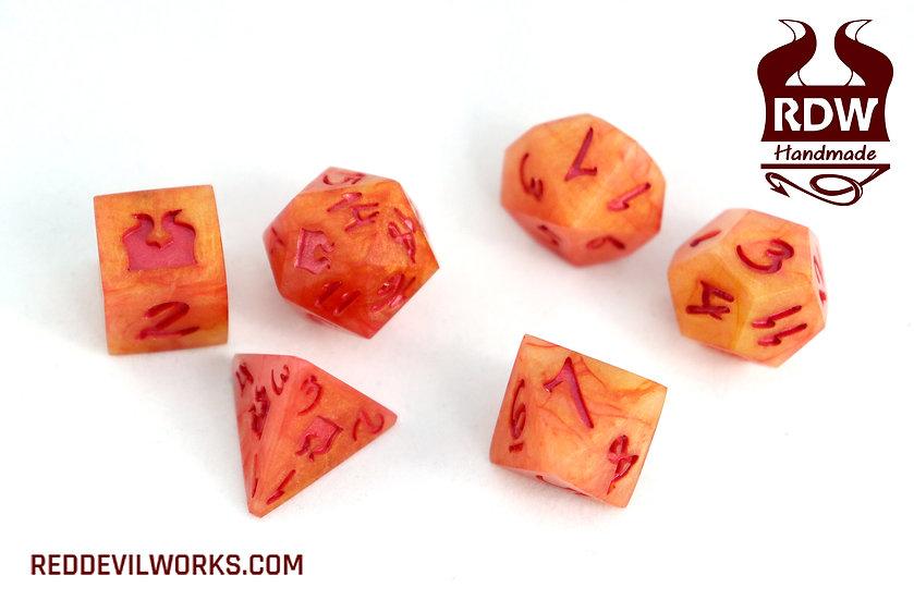 Blood Orange Dice - 7 set
