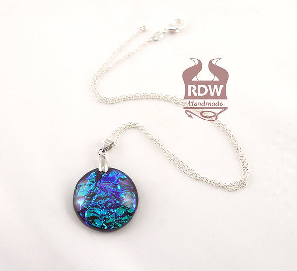 Blue-Pink Round Dichroic Necklace
