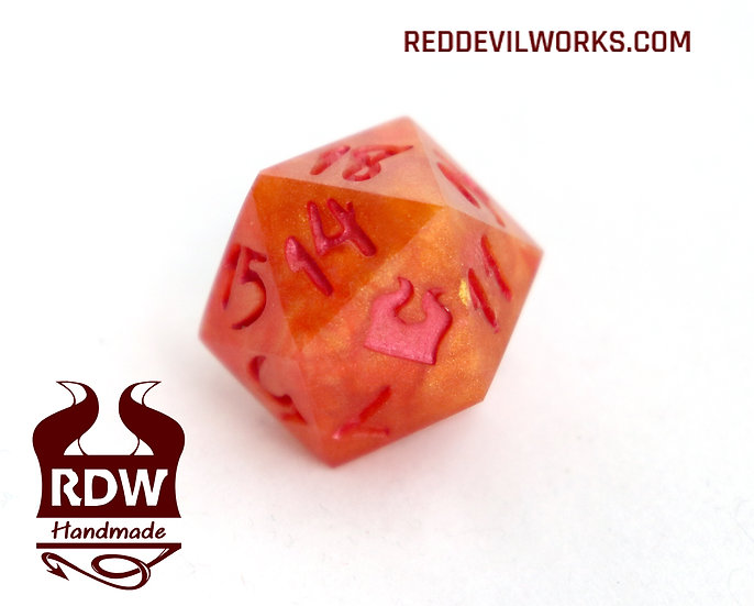 Blood Orange Dice - Single D20