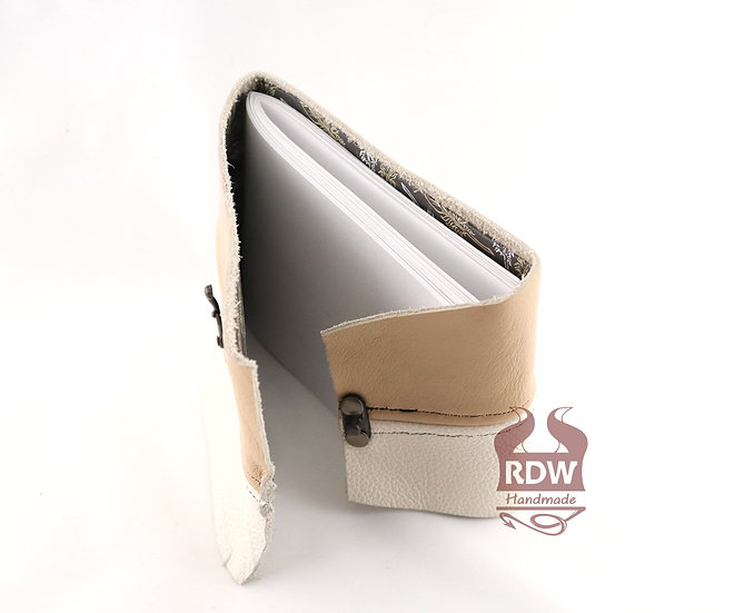 Leather Journal - Two-tone - Feather Interior