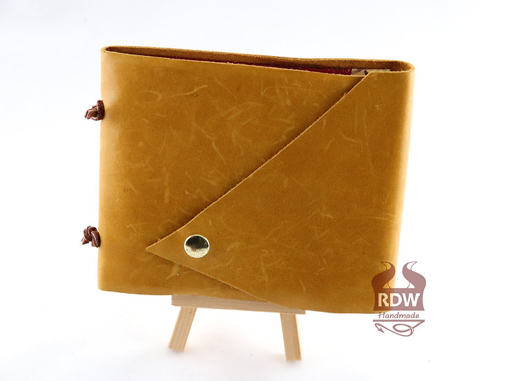 Leather Journal - Yellow - Red Interior