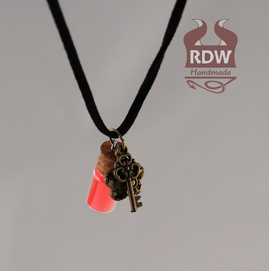 Pink Glow Bottle Necklace