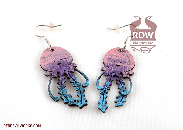 Leather Jellyfish Earrings