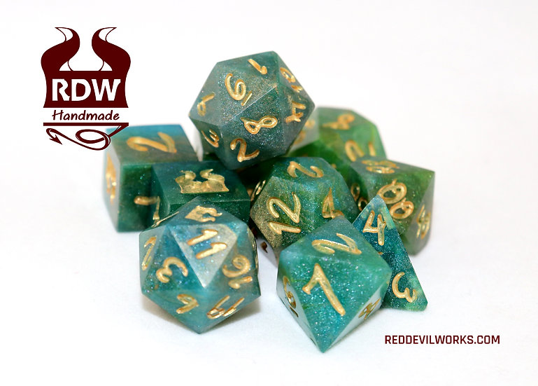 Gold Ocean Blue Dice set - Finished - Painted