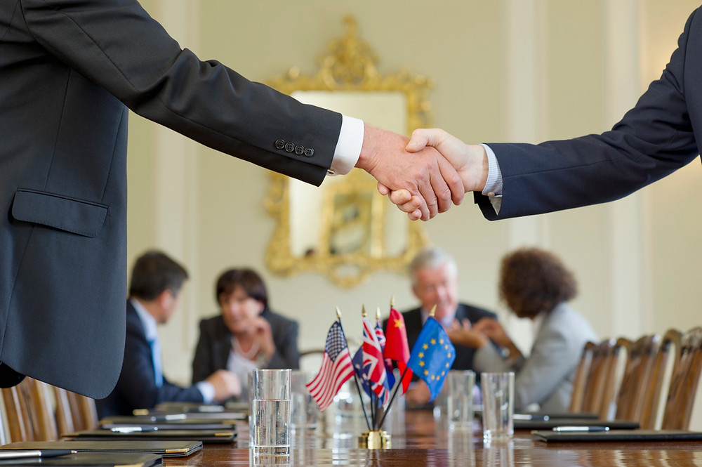 Close up image of a hand shake between leaders with a group of international flags on display as a table decoration. More leaders  seated at the table are talking in the background of the image.