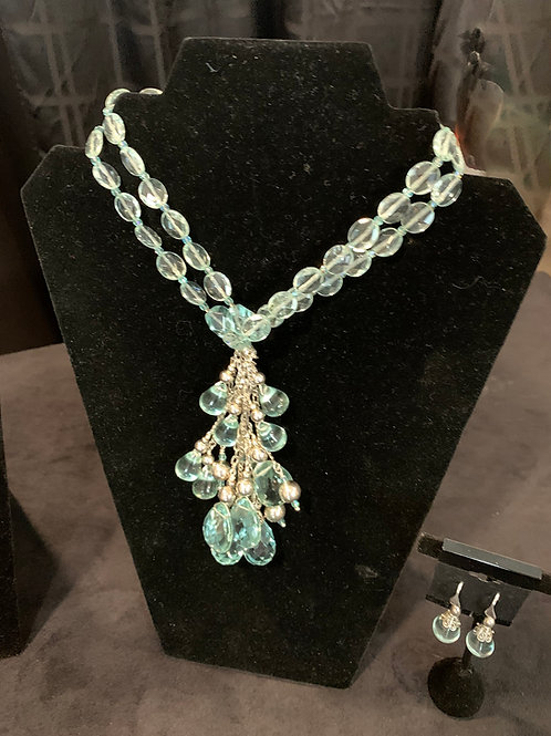 Aqua Faceted Necklace and Earrings by Sue Broadway