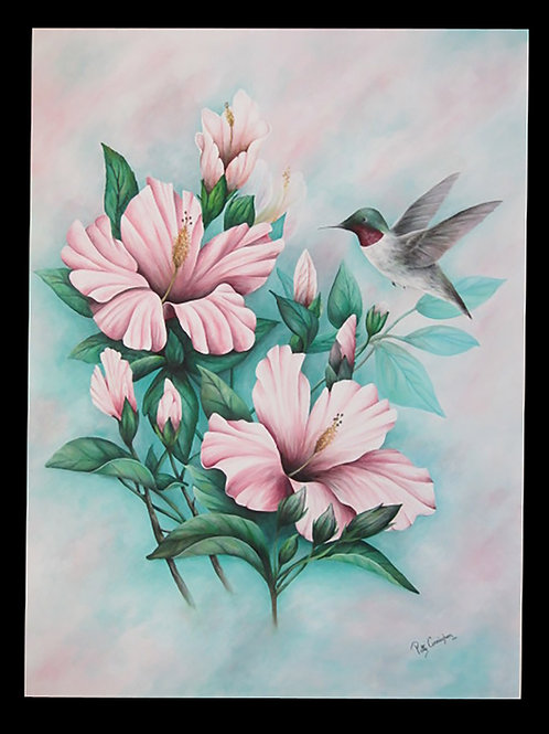 Hummingbird Among the Hibiscus by Patty Cunningham             Acrylic 38x50