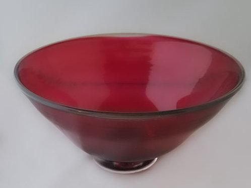 Cranberry Bowl by Ellen Garvey 9 inches               Glassblowing