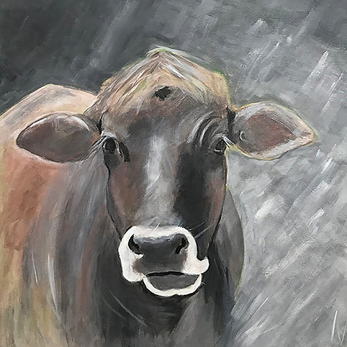 My Brown Cow   by Mary Ellis    24x24 Acrylic