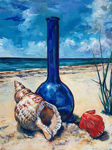 Sea Glass Blues by Brenda Sylvia     Acrylic  20x26