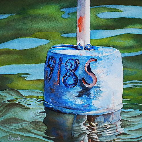 Carved S Buoy by Doug Mock   Watercolor 14 x 14
