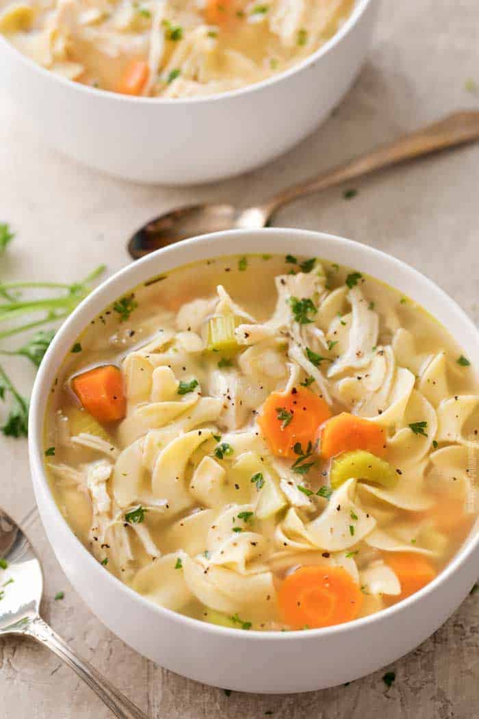 Image of a chicken noodle cooked in a crockpot.